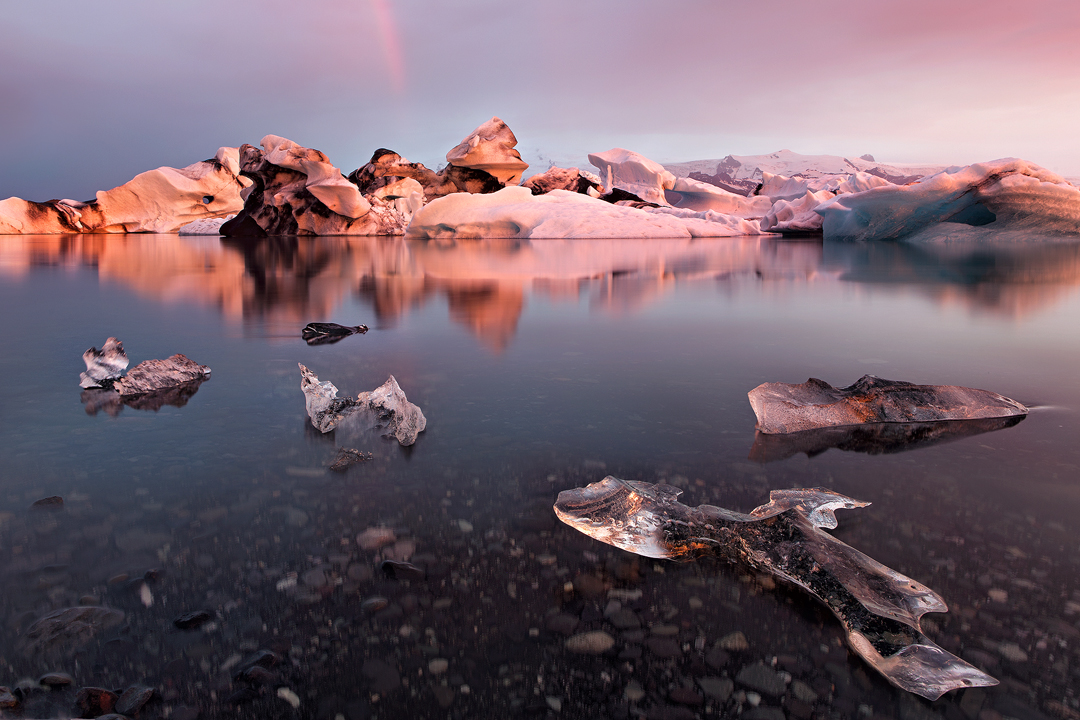 Ice Dyed In The Setting Sun Jokulsarlon Glacier Lagoon A Feature Of South