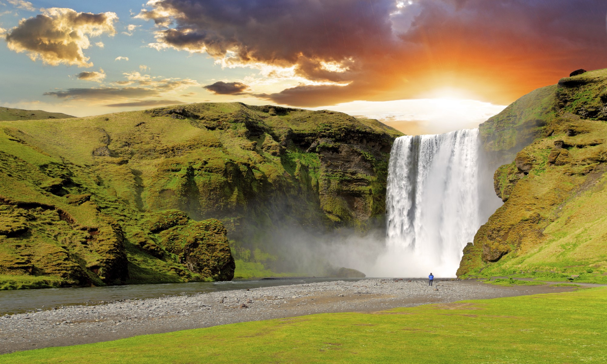By The Village Of Skogar On South Coast Is Majestic Waterfall Skogafoss Which