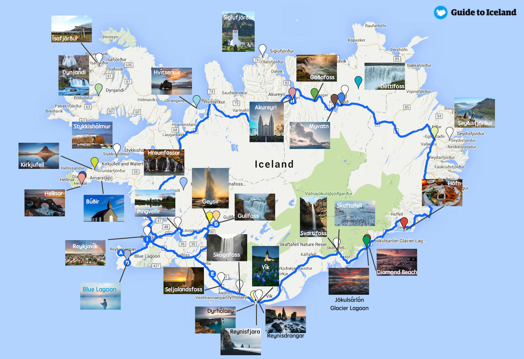A map of Iceland with pictures of all the best places to stop around the ring road